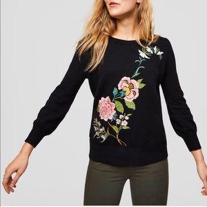 LOFT   Floral appliqué sweater